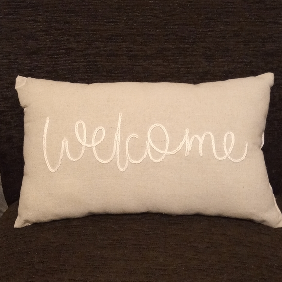 """Two Sided """"Welcome"""" Decorative Pillow"""